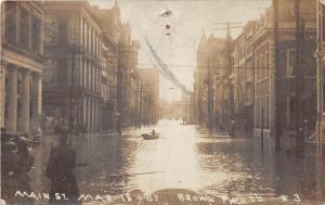 E64/ Wheeling West Virginia Real Photo RPPC Postcard 1907 Flood Disaster Main 3