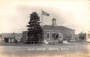 Geneva Nebraska~Post Office & Neighborhood RPPC 1940s