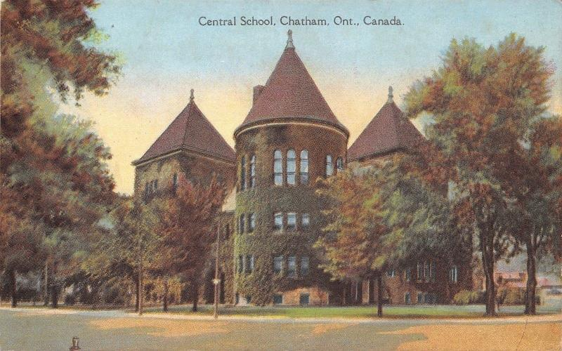 Chatham Ontario~Central School~Ivy Covered Turret~1910 Postcard