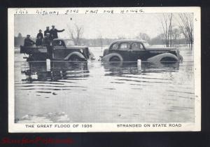 FRAMINGHAM MASSACHUSETTS GREAT FLOOD DISASTER OF 1938 CARS VINTAGE POSTCARD