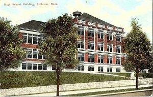 High School Building Atchison Kans. Kansas Vintage Postcard Standard View Card