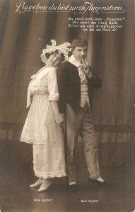 Couple Romance scene Nice old vintage German postcard
