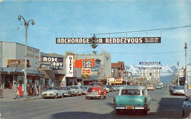 Anchorage Alaska~Fourth Avenue~Storefronts~Budweiser~515 Club~50s Cars-Truck