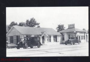 ST. CLAIR MISSOURI ROUTE 66 SCULLY'S SUNSET INN GAS STATION CARS B&W POSTCARD