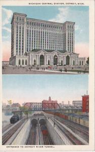 Michigan Detroit Michigan Central Station and Entrance To Detroit River Tunne...