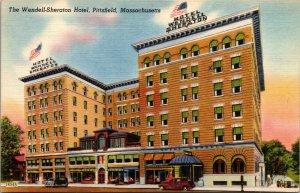 MA Pittsfield Massachusetts linen postcard WENDELL SHERATON HOTEL UNPOSTED