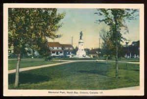 h2207 - NORTH BAY Ontario Postcard 1930s Memorial Park War Monument