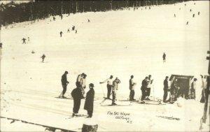 Old Forge NY Ski Slope Skiing Real Photo Postcard