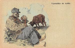 Man with Cow Artist Signed Czech Antique Postcard J44642
