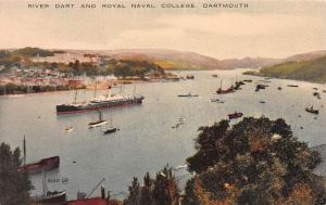 River Dart and Royal Naval College, Dartmouth, England,  Early Postcard, Unused