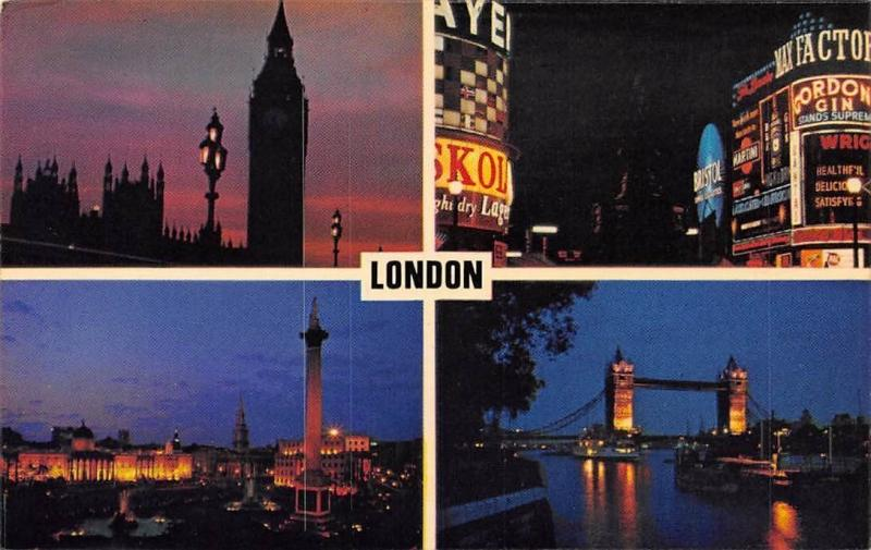London at Night, Tower Bridge River Boats Trafalgar Square Square