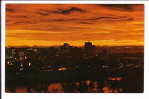 Skyline at Night, Calgary, Alberta, Photo W Petrigo, Slogan Cancel 1968