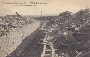 VIRGINIA , MN, 1920-30s; An Alley in Box Lumber Yard, Virginia & Rainy Lake Co.