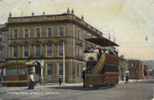 australia, HOBART, Tasmania, Macquarie Street, Tram, Street Car (1908) Postcard
