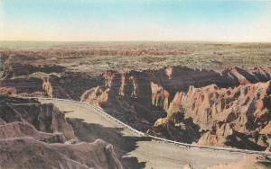 Badlands South Dakota~Highway Down From Pinnacles~Handcolored Albertype~1930s