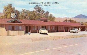 Lemhi Idaho view from street of Fishermans Lodge Motel vintage pc DD7011