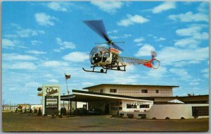 GALLUP, New Mexico Postcard SHALIMAR HOTEL Highway 66 Roadside / HELICOPTER
