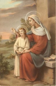 St Anna with th Virgin Nice vintage Spanish  Religious postcard