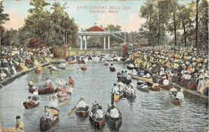DETROIT MICHIGAN~BELLE ISLE BAND CONCERT-CANOES IN AUDIENCE POSTCARD 1907 PSMK