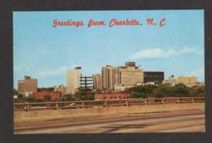 NC Greetings from CHARLOTTE NORTH CAROLINA Postcard PC