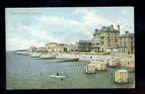 TQ3718 - Bathing Machines in use on West Parade, Bognor Regis, printed postcard