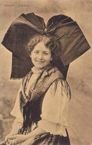 Lady wearing huge head ribbon, smiling, Elsasserin -Alsacienne, 00-10s