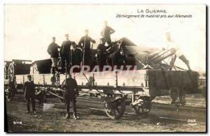 Postcard Old Army Unloading materiel captured German