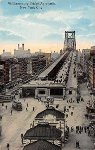 US N.Y. New York City Williamsburg Bridge Approach Horse Carriage Trams Animated