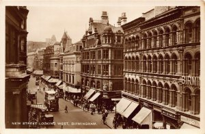 Birmingham New Street Looking West Tram Postcard