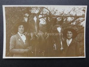 2 Young Ladies (sisters ?) with Horses, Old RP Postcard by SEAMAN of Colchester