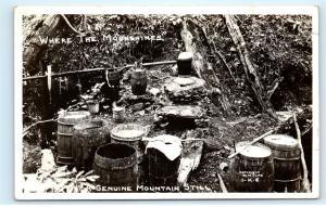 Genuine Mountain Moonshine Still Rifle Guns RPPC Vintage Real Photo Postcard D07