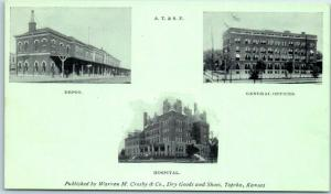 1900s Topeka Kansas Postcard AT&SF DEPOT, Hospital & Offices Crosby Dry Goods