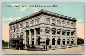 Manistee Michigan~Manistee County Savings Bank~Men on Corner~Vintage Car~1922
