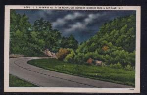 North Carolina colour PC Hwy 74 by Moonlight Chimney Rock Bat Cave, unused