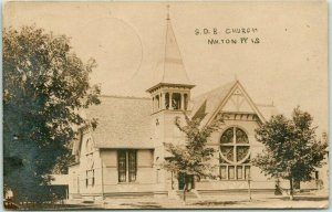 1911 MILTON, Wisconsin RPPC Real Photo Postcard S.D.B. CHURCH Building View