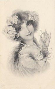 M.M.VIENNE : Woman, Art Nouveau Headdress Portrait #5 , 1901-07s