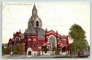 Lincoln Nebraska~St Paul's Methodist Episcopal ME Church~Big House~1908 Postcard