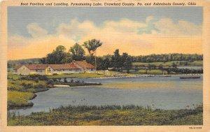 Ashtabula Ohio 1940s Postcard Boat Pavilion & Landing Pymatuning Lake