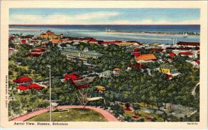 NASSAU, BAHAMAS    Birdseye VIEW of CITY   c1940s  Linen   Postcard