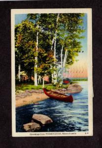MA Greetings From Framingham Mass Massachusetts Linen Postcard