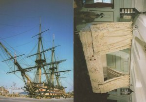 HMS Victory Nelsons Cot & Portside View 2x Rare Postcard s