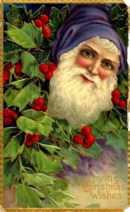 Greeting - Christmas. Santa Claus in Blue Coat