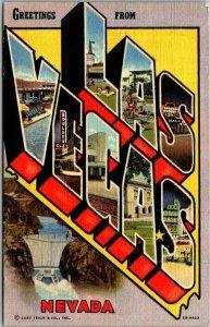 LAS VEGAS Nevada Large Letter Postcard Curteich Linen #8B-H823 - 1950 NV Cancel
