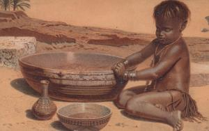 Art card; Child & bowls in desert, 00-10s