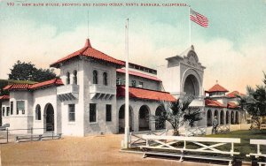 New Bath House, Showing End Facing Ocean, early postcard, unused
