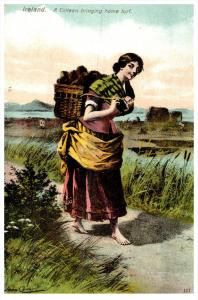 15036  Irish Woman  1910  WomanCarring Turf in basket, on Back