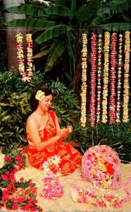 Hawaii Beautiful Girl Making Leis