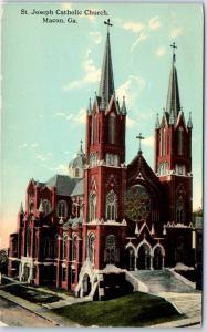 Macon, Georgia Postcard St. Joseph Catholic Church Building View c1910s Unused