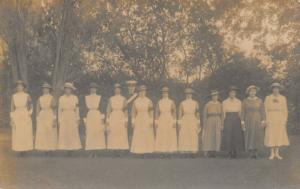 WWI Real Photo Postcard~British Officer~Lady Volunteers~Red Cross Armbands~c1915
