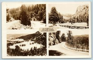 Postcard CA Placerville Multiview Highway Scenes to Lake Tahoe RPPC Photo Q13